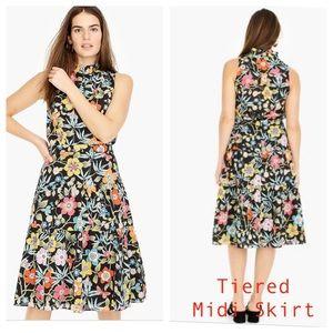 J. Crew Tiered Midi Skirt in Liberty Fabric NWT